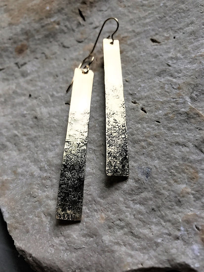 Brass Hammered Bar Earrings