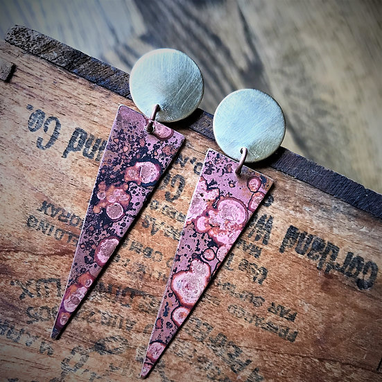 Brass Patina Spike Earrings