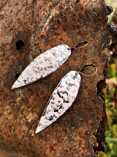 Pink Painted Copper Spear Earrings