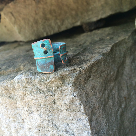 wide copper patina ring