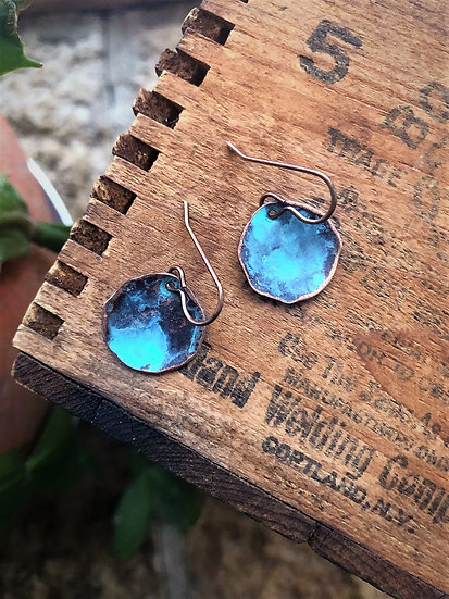 Copper Turquoise Patina Mini Drop Earrings