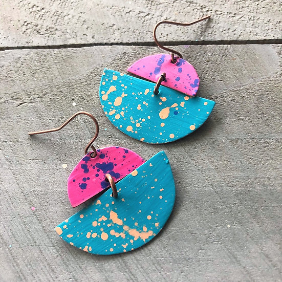 Copper Handpainted Drop Earrings