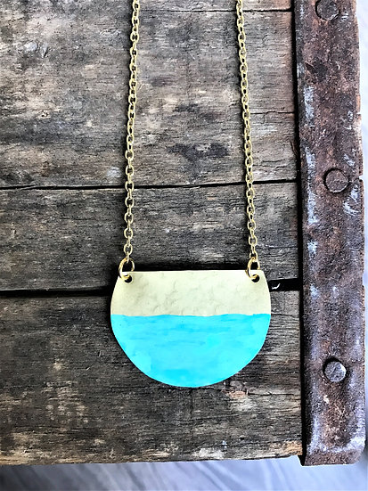 Hammered Brass Turquoise Patina Necklace