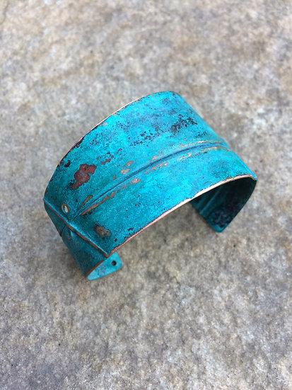 handmade copper patina cuff bracelet