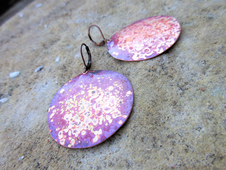 Copper Red Patina Disc Earrings