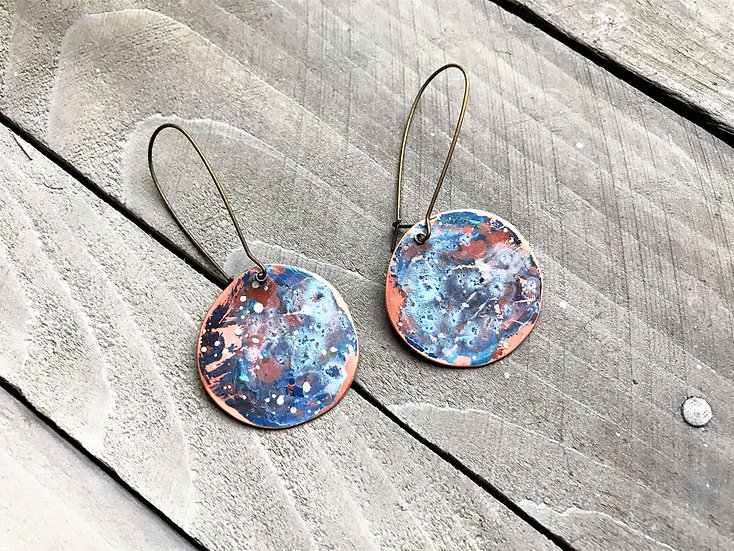 Copper Watercolor Dangle Earrings