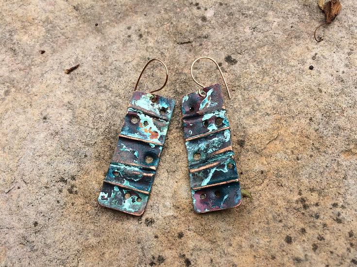 Copper Tag Dangle Earrings