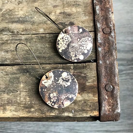 Brass Flame Patina Dangle Earrings