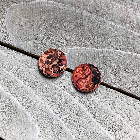 Brass Torch Patina Post Earrings