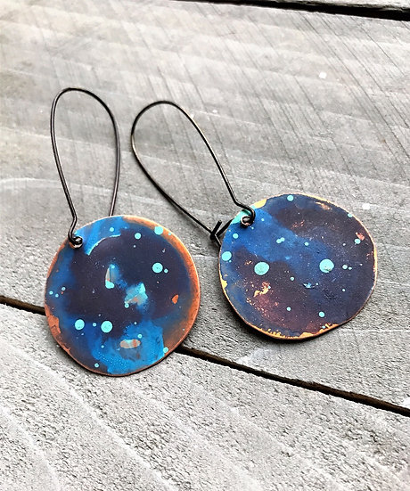 Copper Watercolor Dangle Disc Earrings