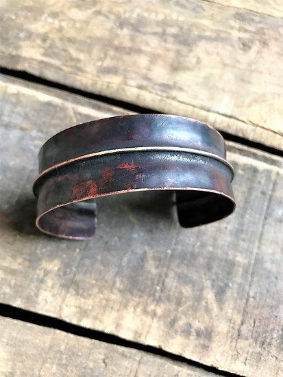 Aged copper fold cuff bracelet
