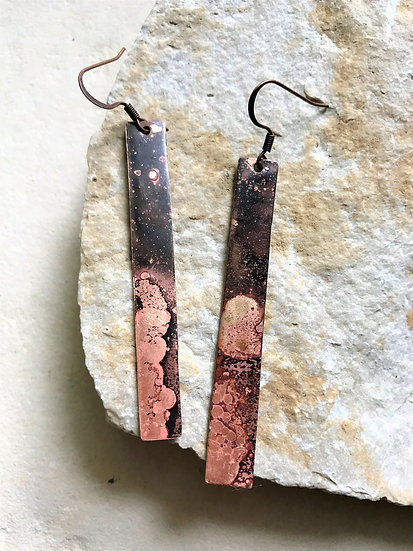 Brass Patina Bar Earrings