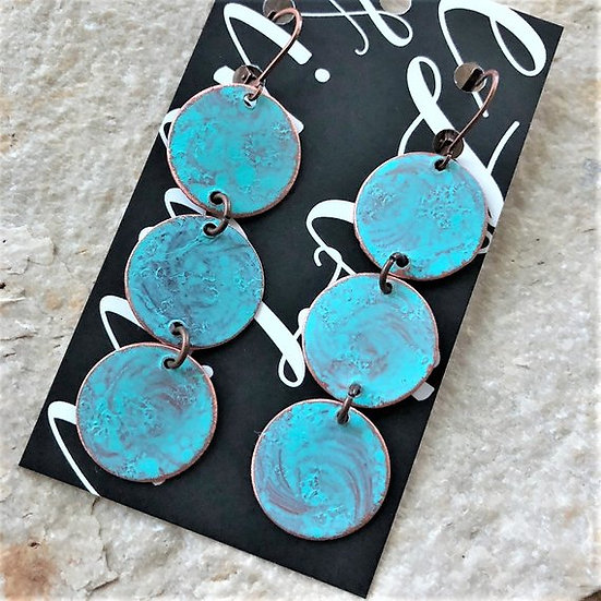 Copper Turquoise Patina Dangle Earrings
