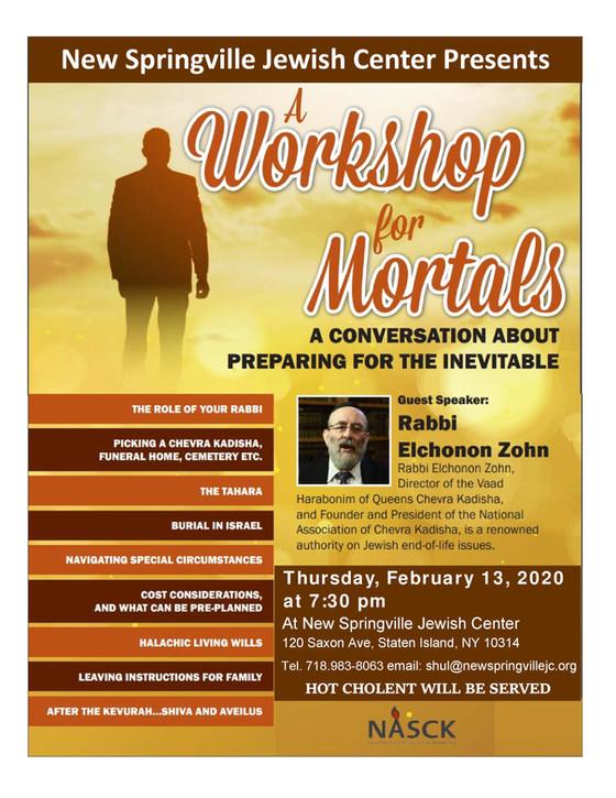 Workshop On Mortality with Rabbi Zohn