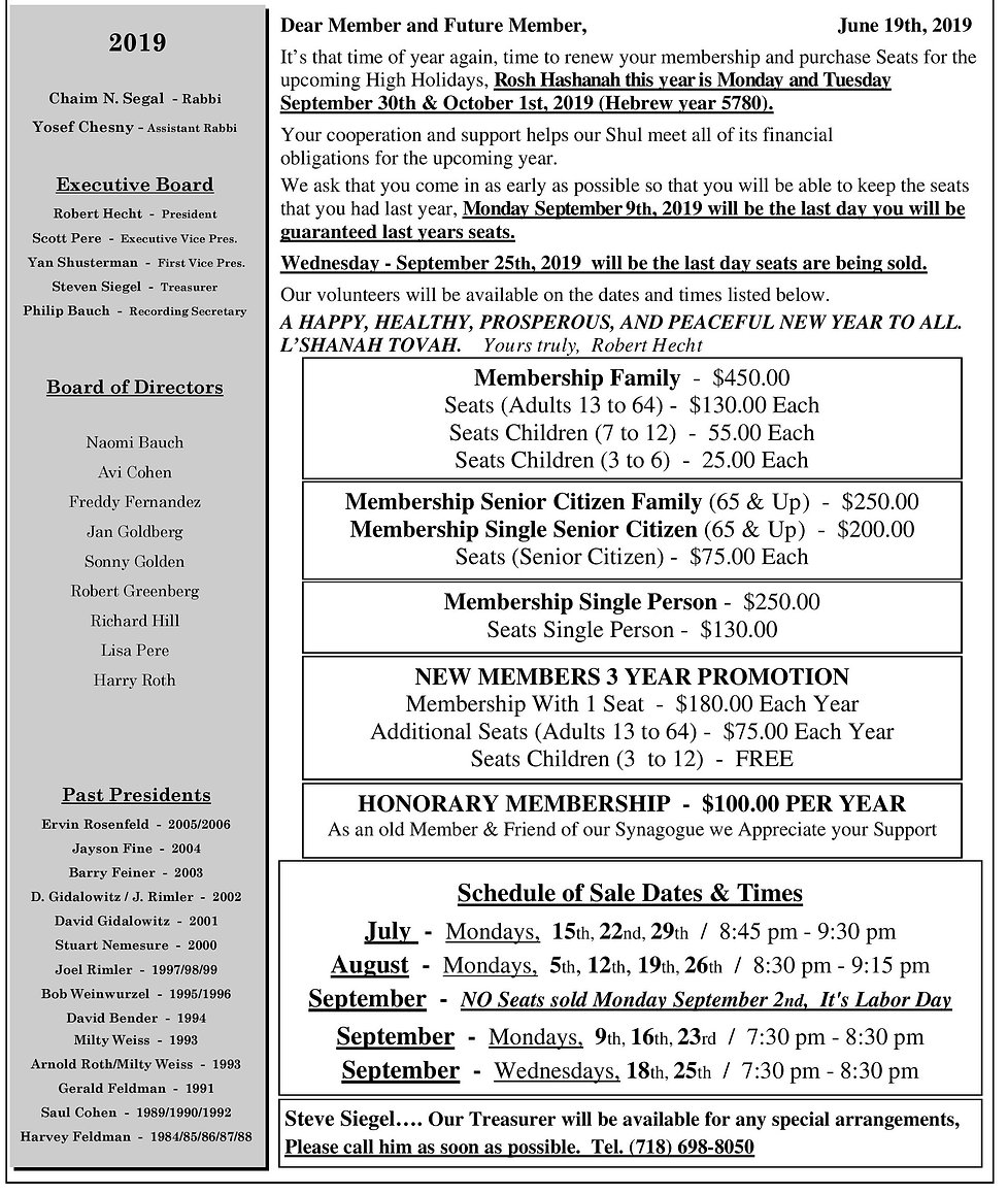 5780 Annual Membership Renewal Letter &