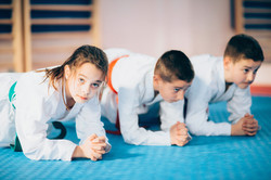 Children In Martial Arts  On Training Indoors, Toned Image, Color Image