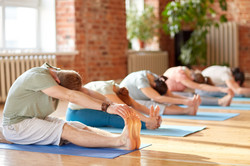fitness, sport and healthy lifestyle concept - group of people doing yoga seated forward bend pose o