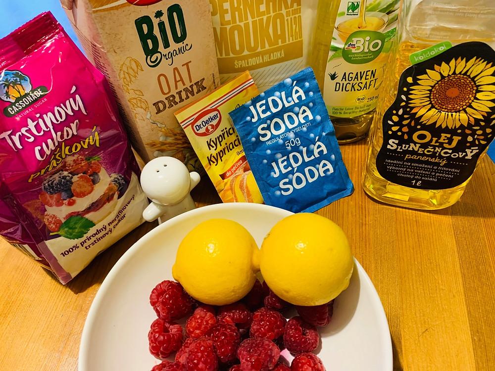 Easy vegan lemon-raspberry pound cake recipe ingredients