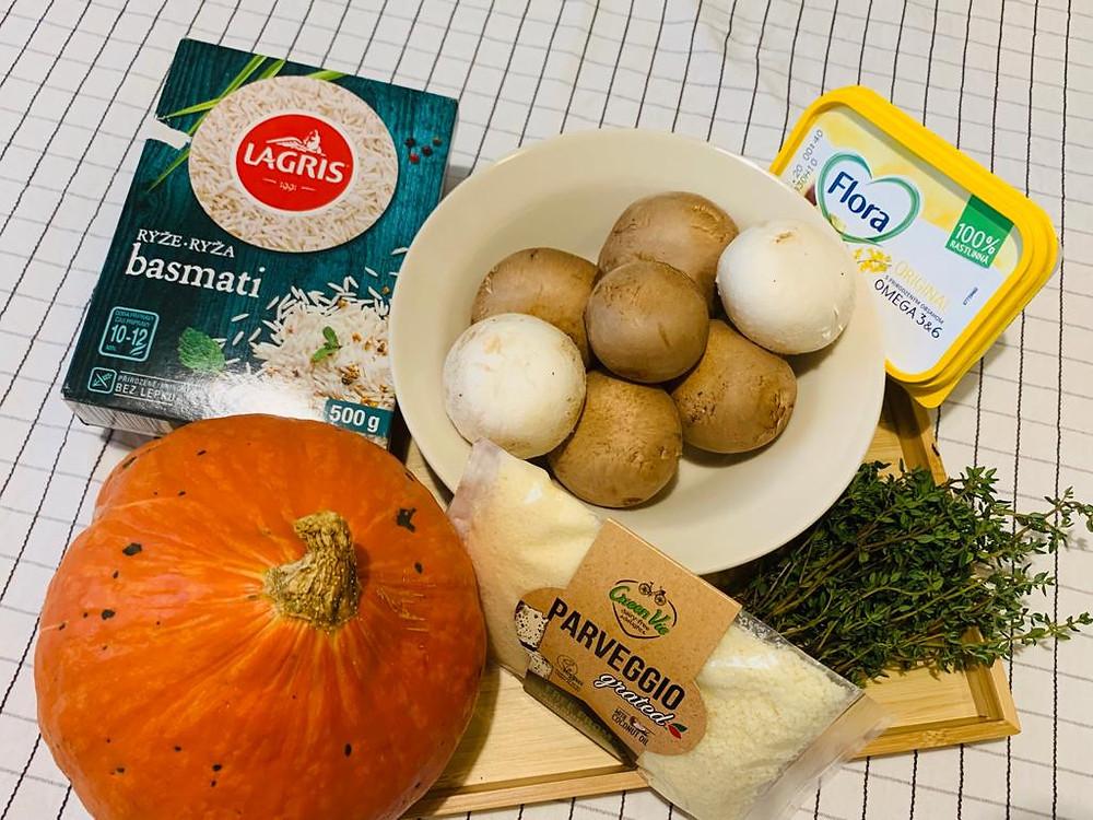 Pure vegan pumpkin risotto recipe ingredients