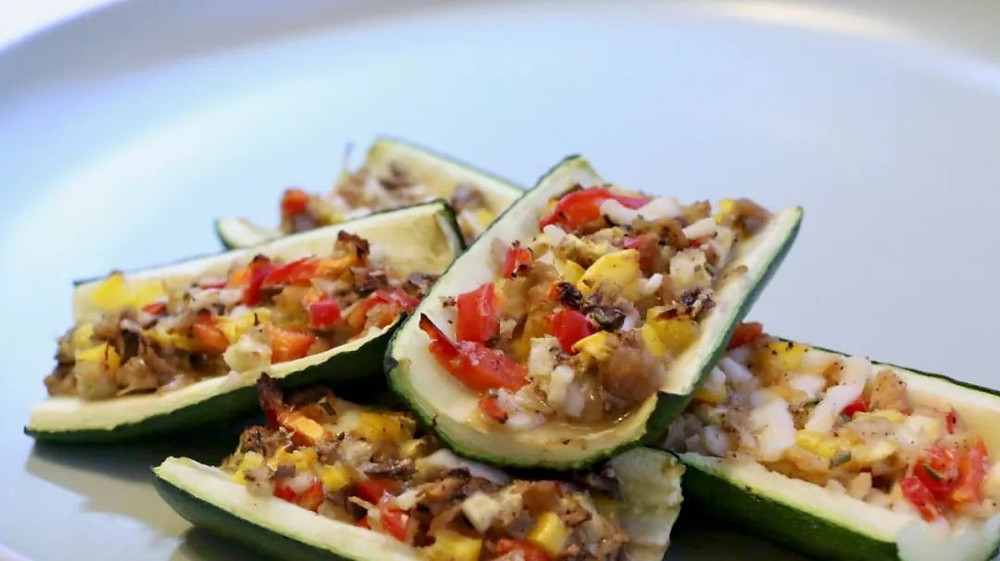 Vegan courgette boats recipe made with vegetables
