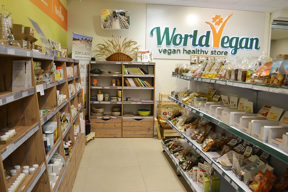 Prague bio shops where you can buy vegetarian and vegan products, snacks, foods, drinks, books, eco-friendly concept and a healthy lifestyle.