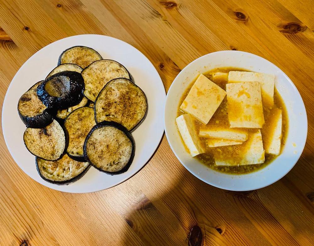 Vegan Millefoglie recipe ingredients tofu and eggplant
