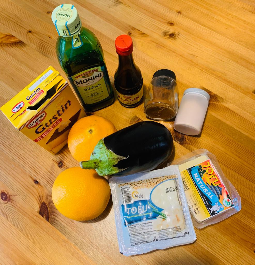 Ingredients vegan Millefoglie recipe with eggplant and tofu