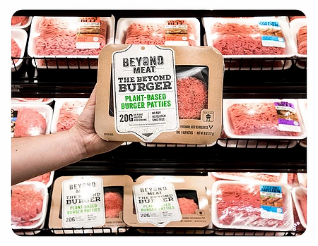 Beyong meat, the plant-based, vegan meat is well-known around the world. Beyond meat burger, beyond meat sausage.
