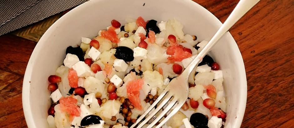 Salade de chou-fleur, lentilles et feta