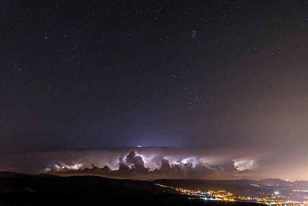 Lightning stom cloud sky stars astronomy