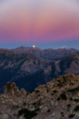 monte rotondu rotondo levé pleine lune corse corsica cinto ceinture vénus levé lune couché soleil crépuscule