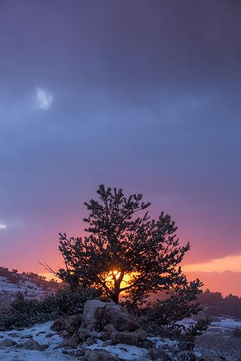 mon lachens coucher soleil neige