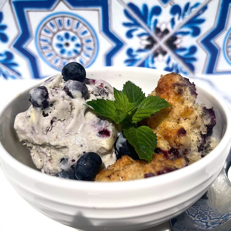 Blueberry Cobbler with Blueberry Ice Cream