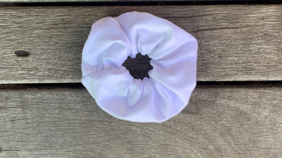 WHITE Cotton Stretch Scrunchie