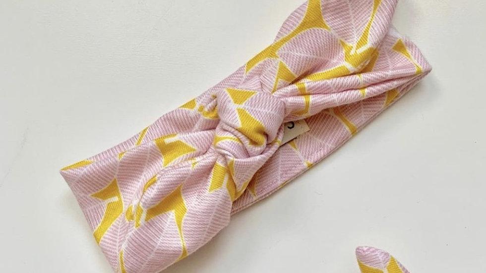 PINK geometric stretch topknot