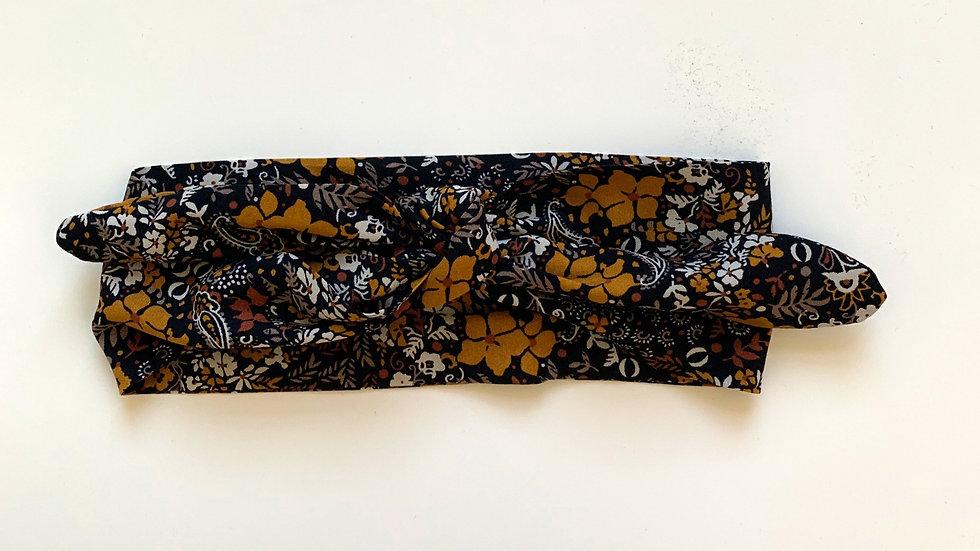BLACK Floral Topknot
