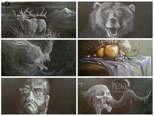 Учитель в средней школе в штате Вайоминг рисует на классной доске настоящие картины