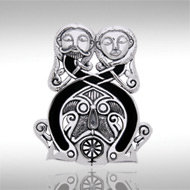 Viking Lovers Pendant in Sterling Silver with Enamel Inlay