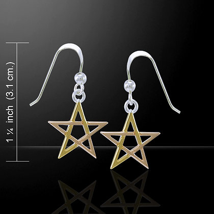 Gold, Rose Gold & Silver Pentagram Earrings