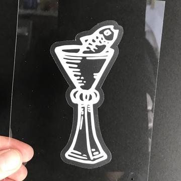 Vinyl Sticker - The Page of Cups Fish Tarot Card
