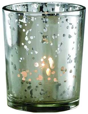 Silver Mercury Glass Votive Candle Holder
