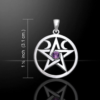 Sterling Silver Pentacle with Crescent Moon and Gemstone Detail