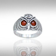 Owl Ring in Sterling Silver with Carnelian Accent