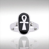 Ankh Ring in Sterling Silver with Enamel Accent