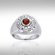 Wheel of the Year Ring in Sterling Silver with Gemstone Accent