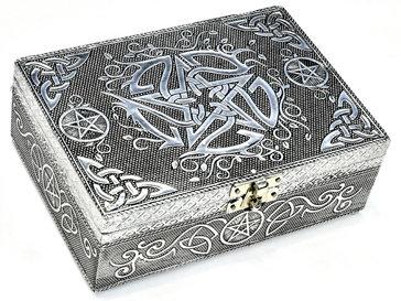 Embossed Metal Pentacle over Wood Tarot Box