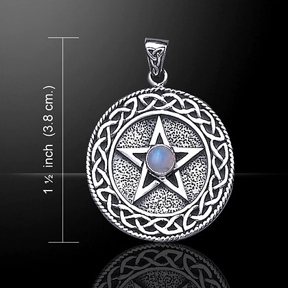 Knotwork and Gemstone Accent Pentacle Pendant in Sterling Silver