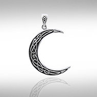 Knotwork Crescent Moon Pendant in Sterling Silver