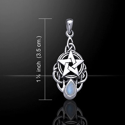 Petite Pentacle Pendant in Sterling Silver and Gemston Accent