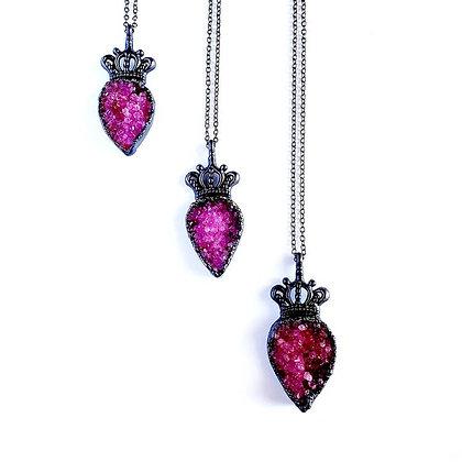 Pink Druzy Quartz Crown Necklace
